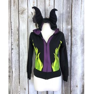 Disney Parks Maleficent Zip Up Horn Hooded Jacket